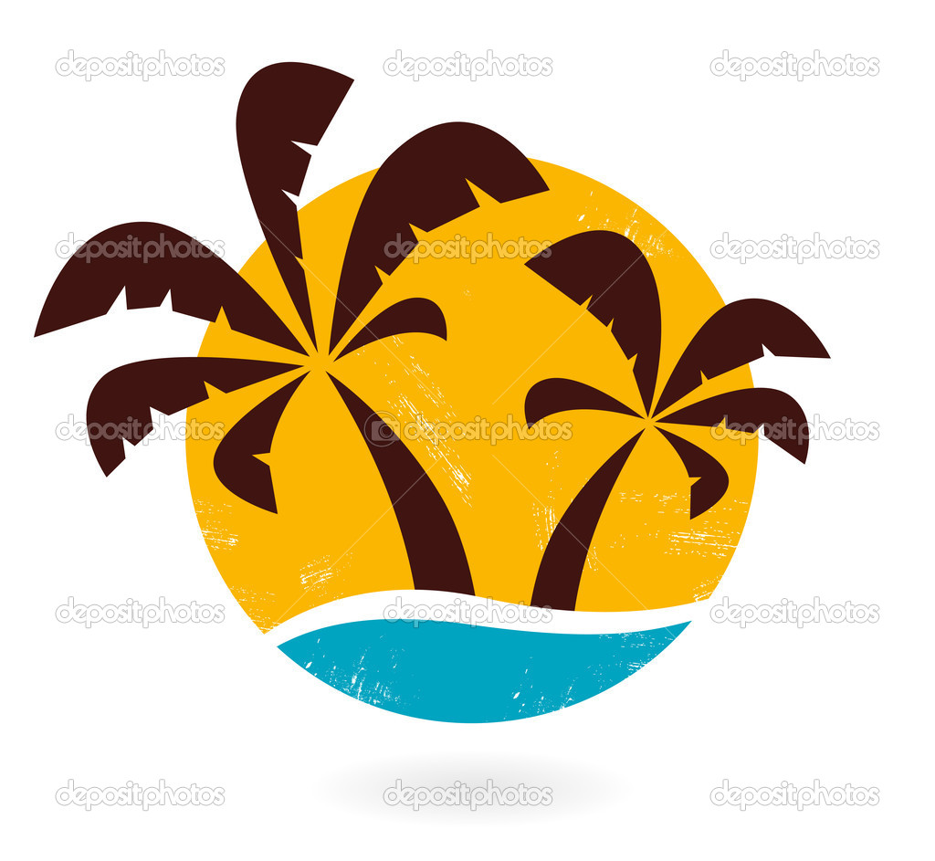 Retro grunge palms icon isolated on white