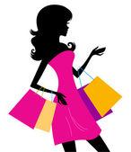 žena nakupování silueta izolovaných na bílém