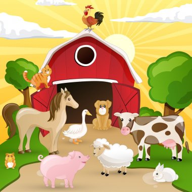 Vector Farm with animals
