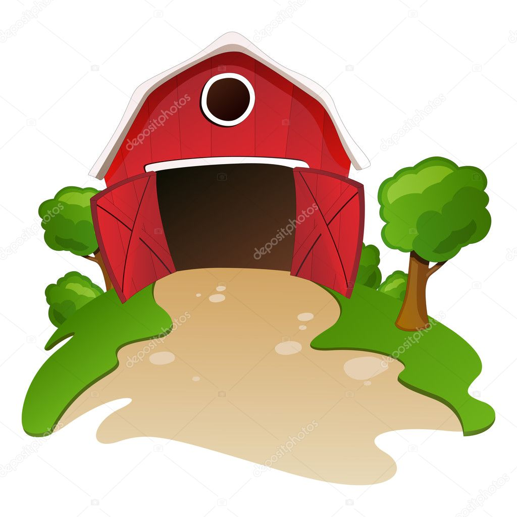 Vector illustration of a barn