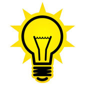Fotografie svítí ikona žárovky