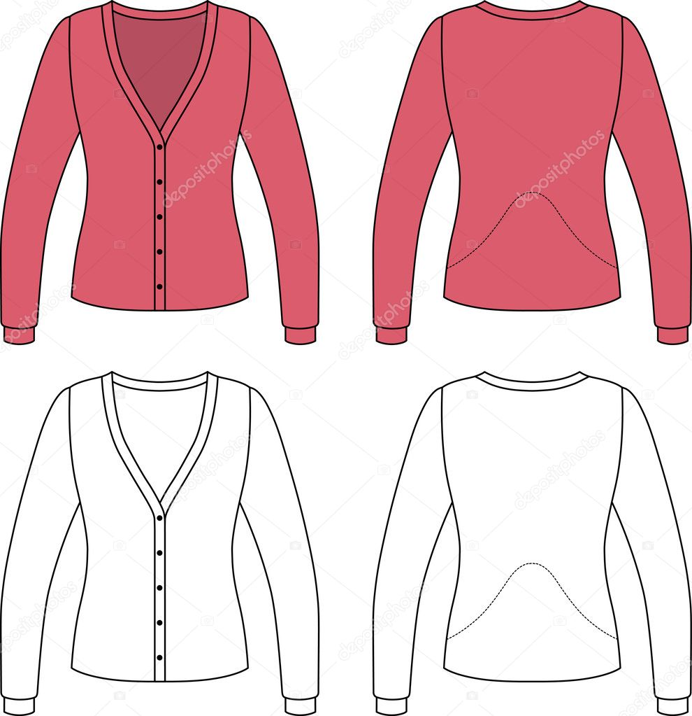 template outline illustration of a blank cardigan  u2014 stock