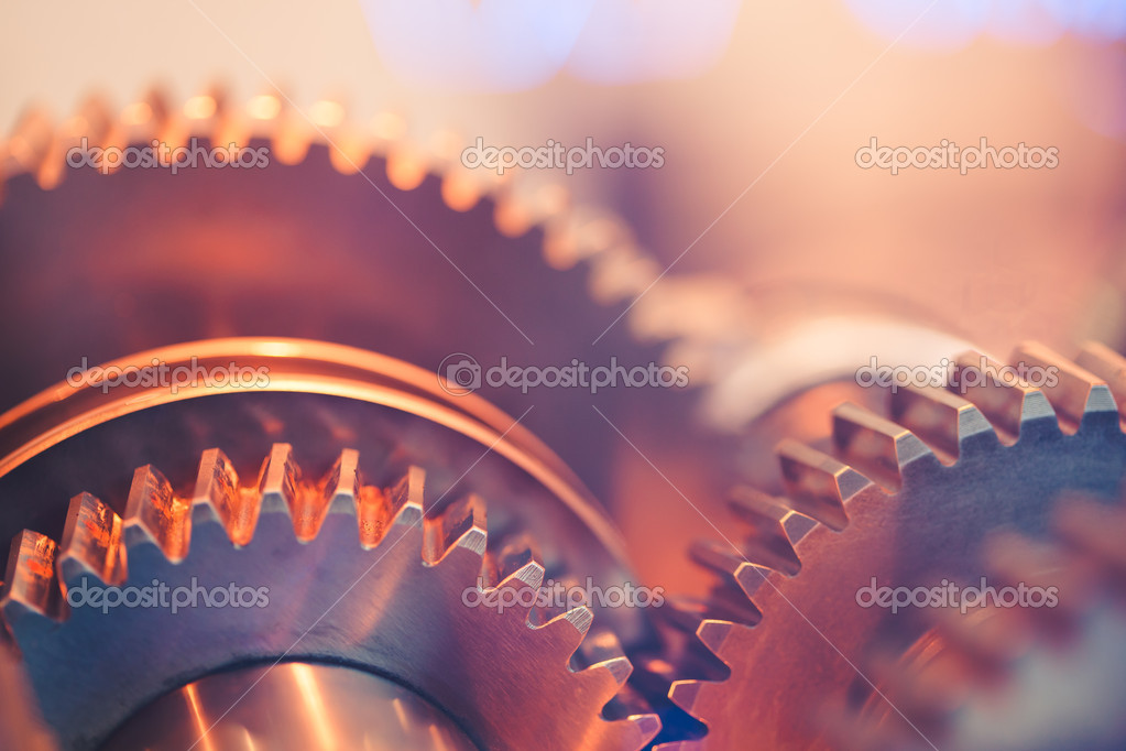 Gear wheels close-up stock vector