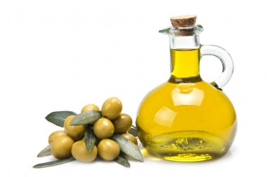 A jar with olive oil and some green olives isolated over a white background. stock vector