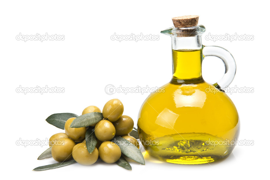 Premium olive oil and olives.