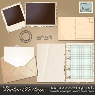 Scrapbooking set of vintage postage objects