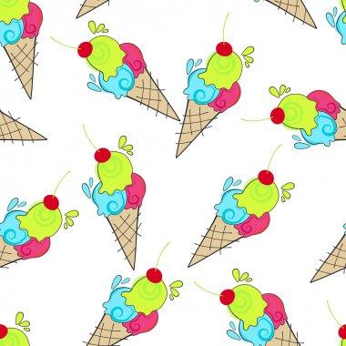 Cute seamless ice cream background