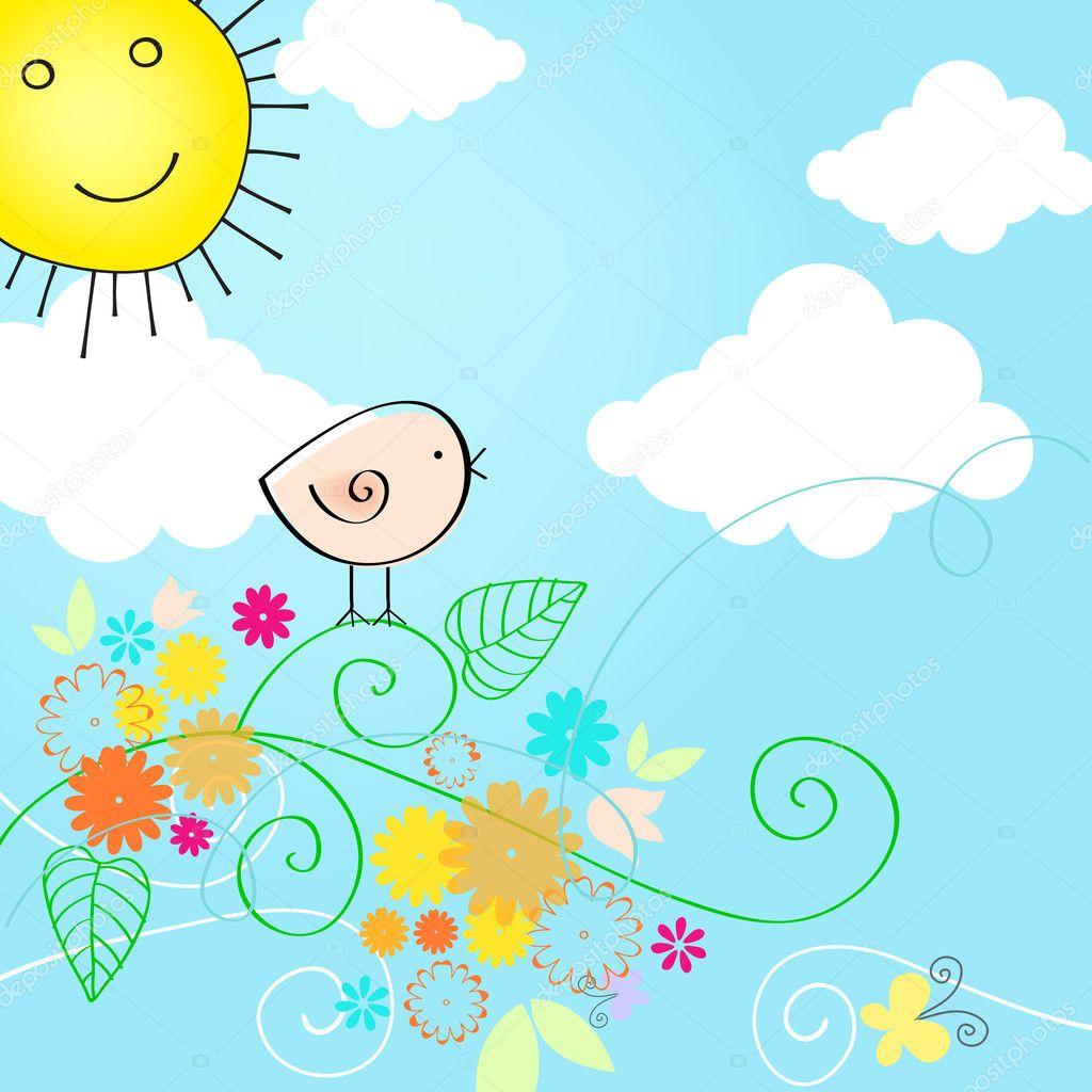 鳥とかわいい夏本文イラスト ストックベクター Glyphstudio 11591385