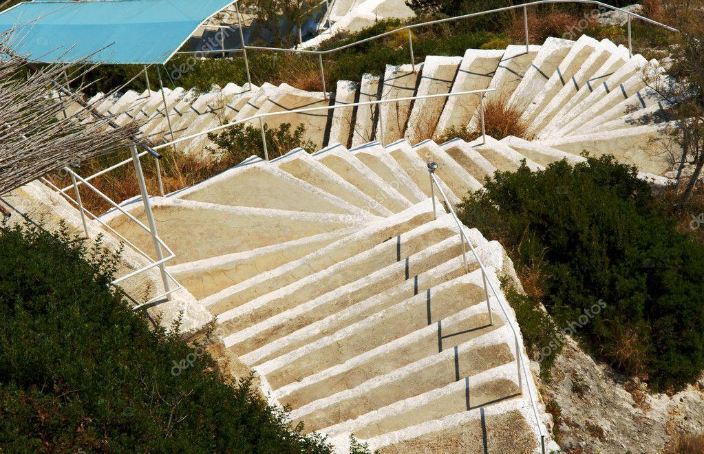 Treppe Zum Strand Auf Der Insel Zakynthos Stockfoto Gkordus