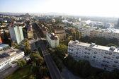 Fotografie vysoce detailní letecký město pohled s křižovatkou, silnice