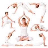 Fotografia raccolta di una bella ragazza lo yoga