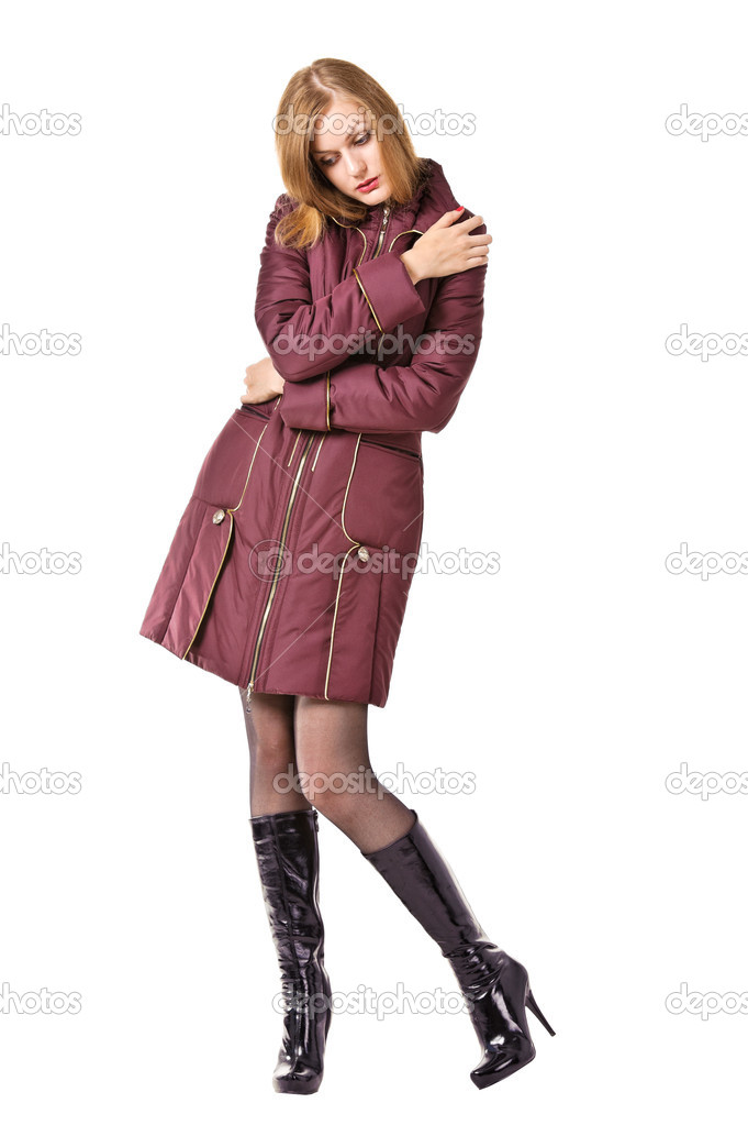 Vrouwelijke Winterjas.Aantrekkelijke Jonge Vrouwelijke Dragen Winterjas Stockfoto C Andy