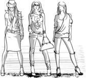 ilustrace tři módní dívky