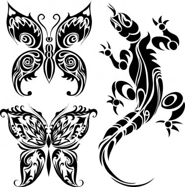 Tattoo drawings of butterflies and lizard