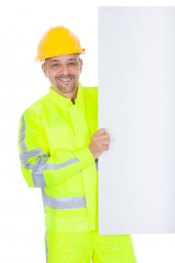 Worker in safety jacket presenting empty board. Isolated on white stock vector