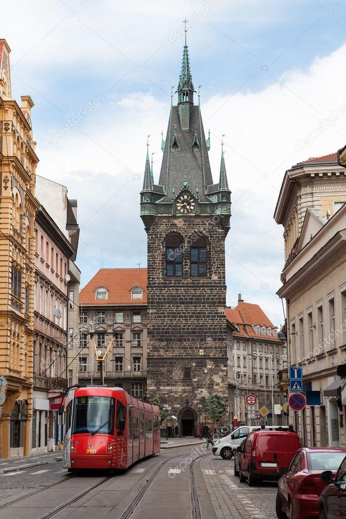 Red tram in Prague, Czech Republic,,,