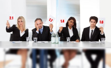 Panel judges holding bad score signs