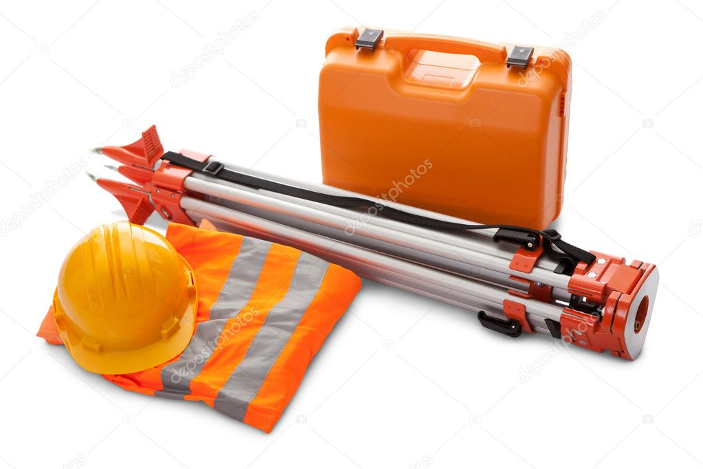 Survey equipment in carrying case
