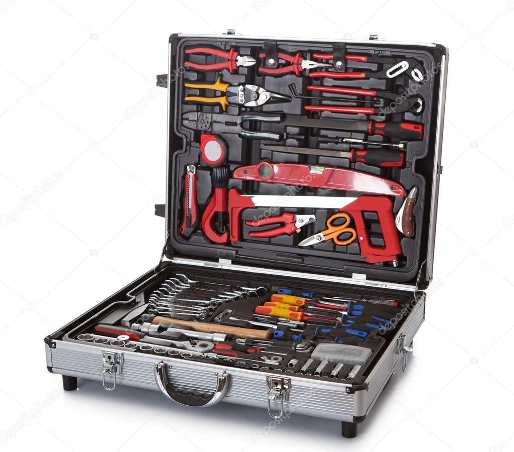 Suitcase full of various tools