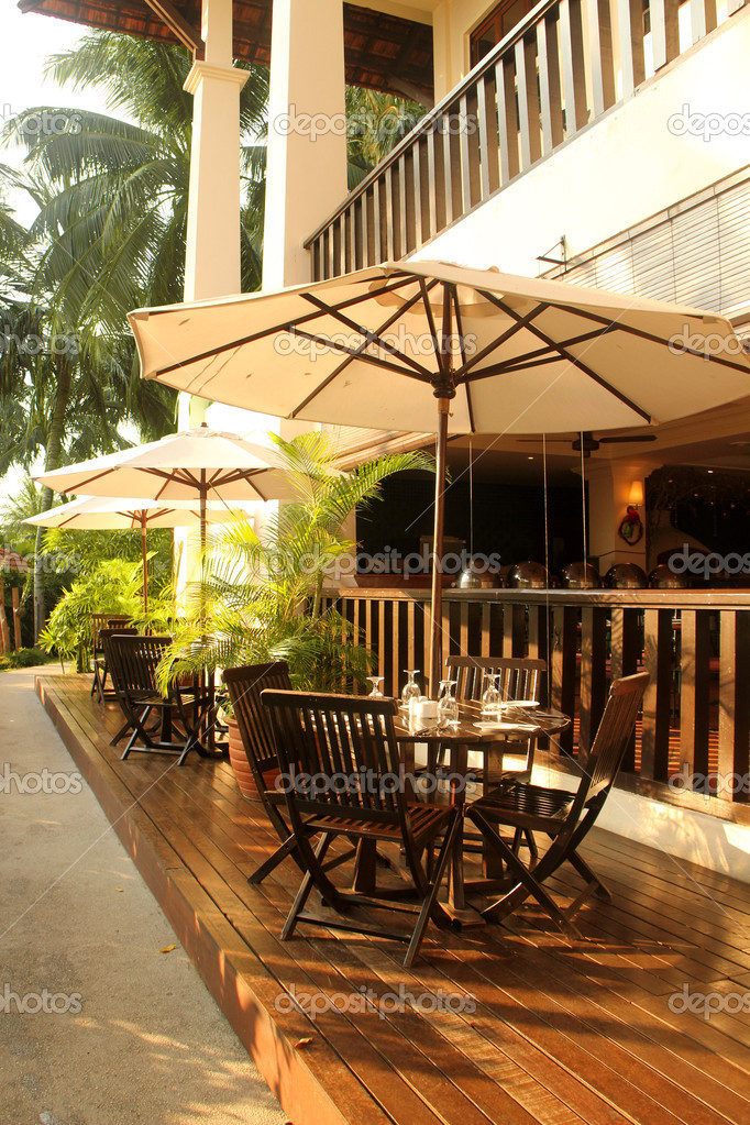 Hotel's tropical outdoor restaurant