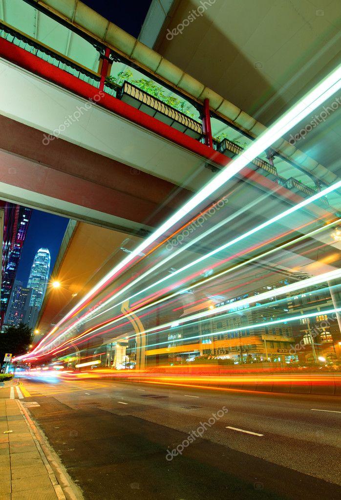 Фотообои City in night with busy traffic