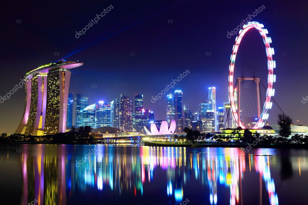 Фотообои Singapore city skyline at night
