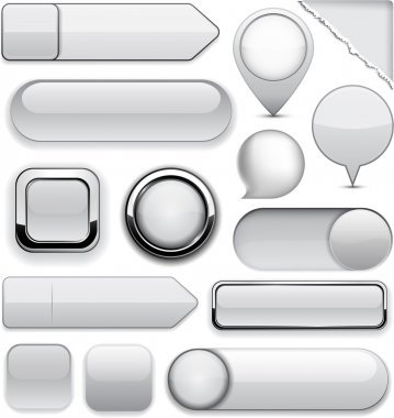 Grey high-detailed modern buttons.