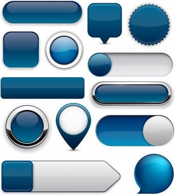 Blank Dark-blue web buttons for website or app. Vector eps10. stock vector