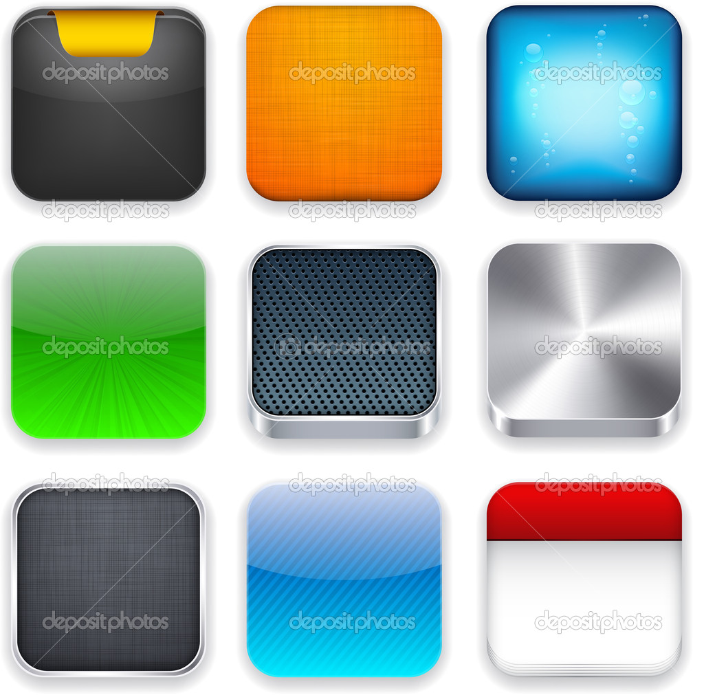 square modern app template icons stock vector maxborovkov 11809637. Black Bedroom Furniture Sets. Home Design Ideas