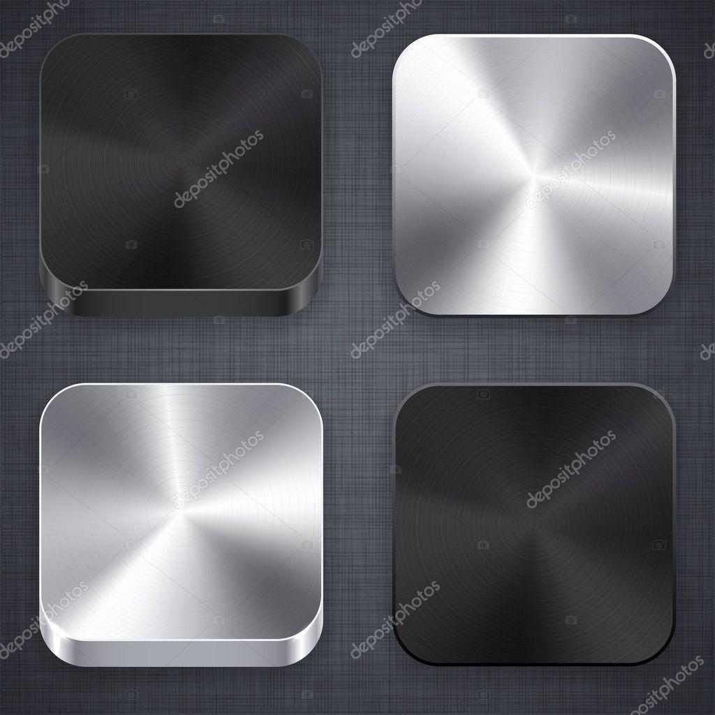 Square metallic app template icons.