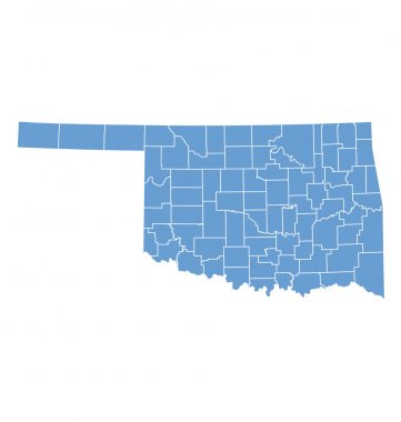 State map of Oklahoma by counties