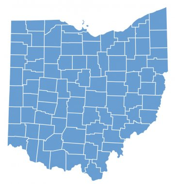 State map of Ohio by counties