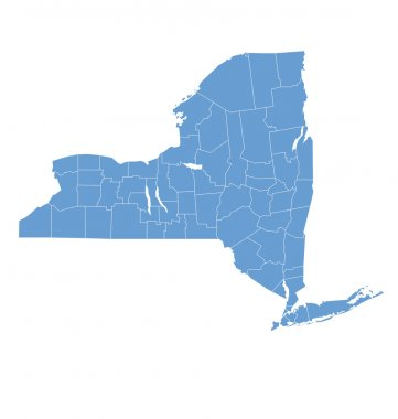 State map of New york by counties