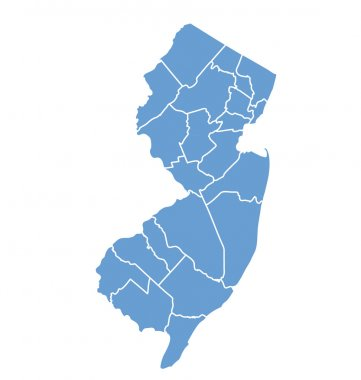 State map of New Jersey by counties