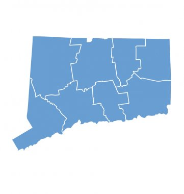 State Map of Connecticut by counties