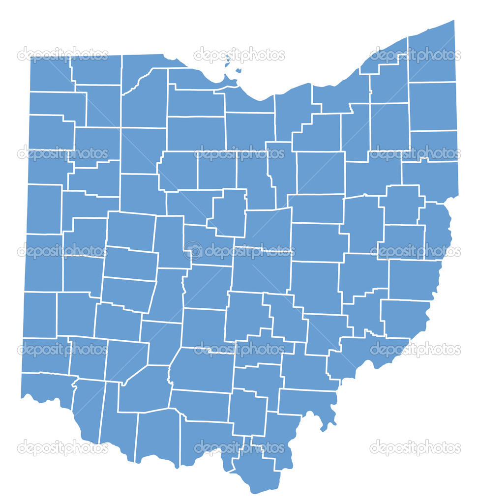 State Map Of Ohio By Counties Stock Vector Deskcube - Ohio map counties