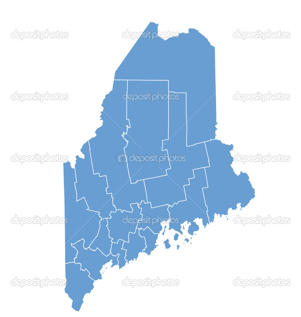 State Map Of Maine By Counties Stock Vector Deskcube - Map state of maine