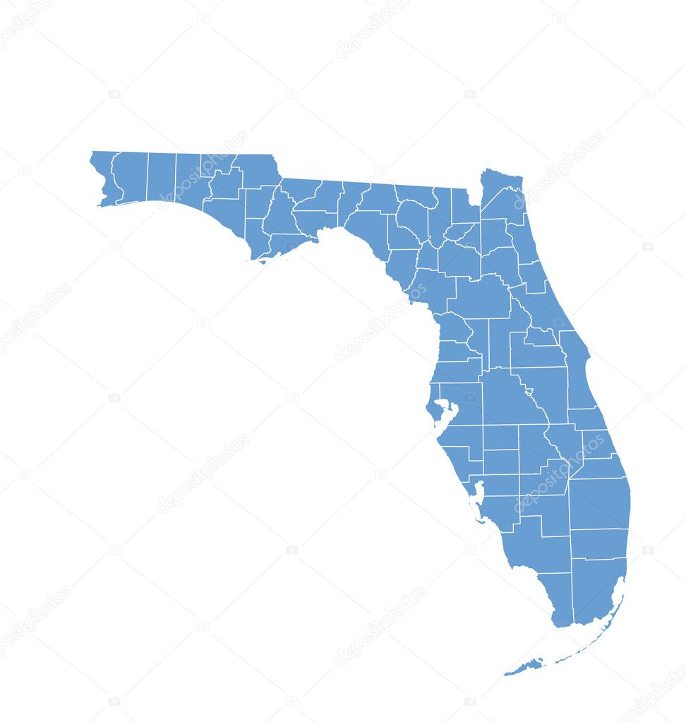 State Map Of Florida By Counties  Stock Vector  Deskcube - Florida map of counties