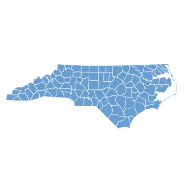 State map of North Carolina by counties