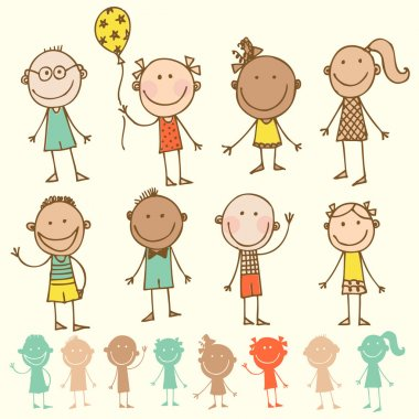 Hand-drawn children set clip art vector