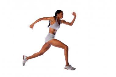 Fast running athlete woman