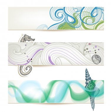 Sea and beach stylish banners