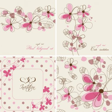 Vector floral cards and seamless patterns clip art vector