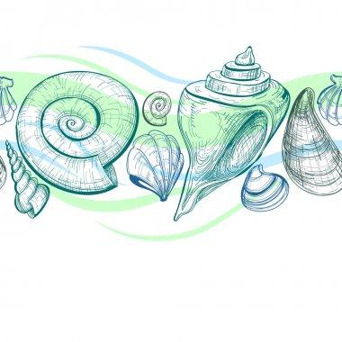 Sea shells vector seamless pattern