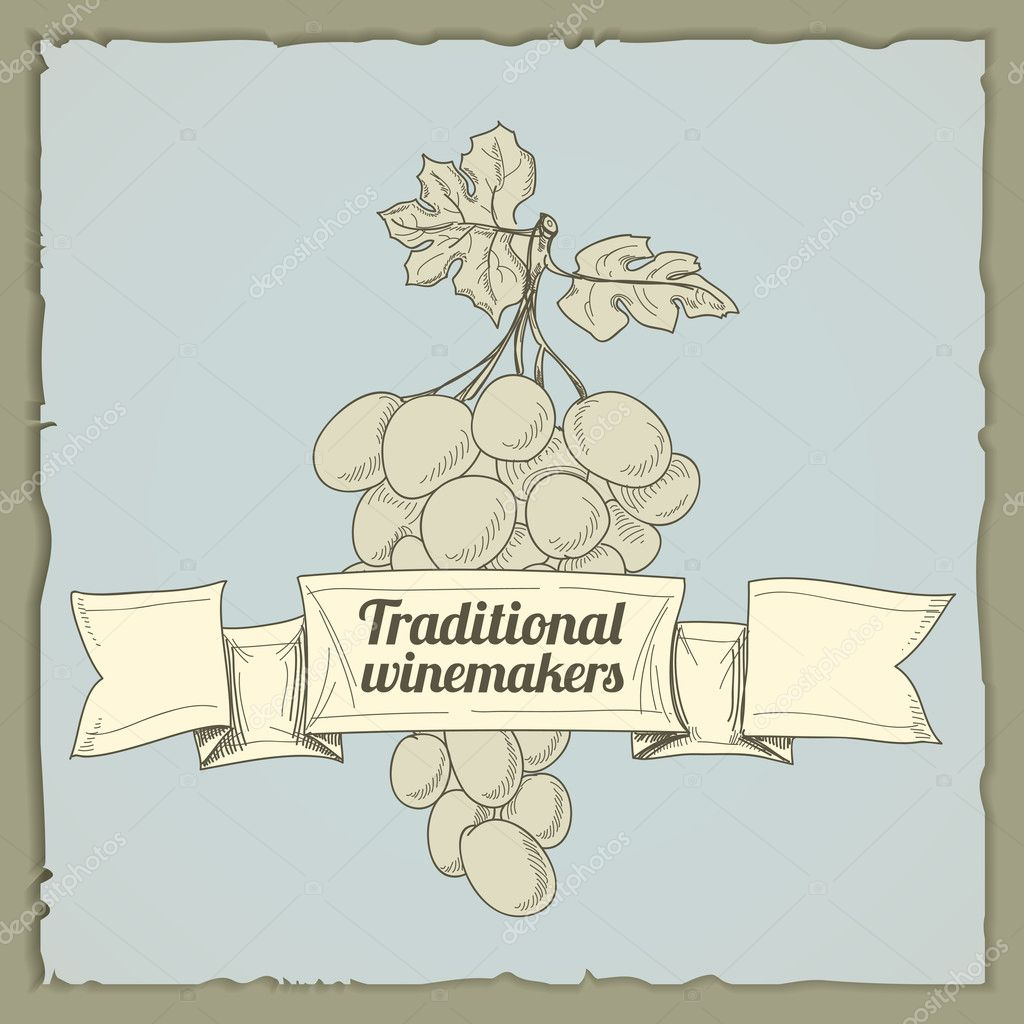 Vintage Wine Label With Grapes