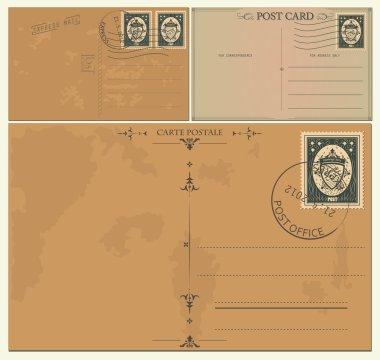 Vintage postcards clip art vector