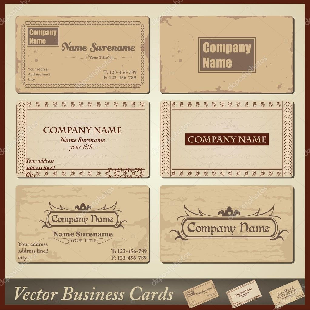 Vector old-style retro vintage business cards - both front and back ...
