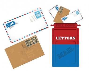 Mailbox, letters and postcard icons