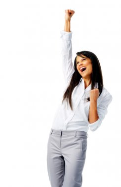 Excited woman with air punch
