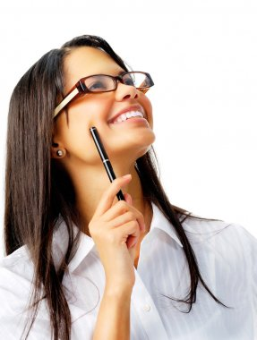 Smiling woman with pen and glasses